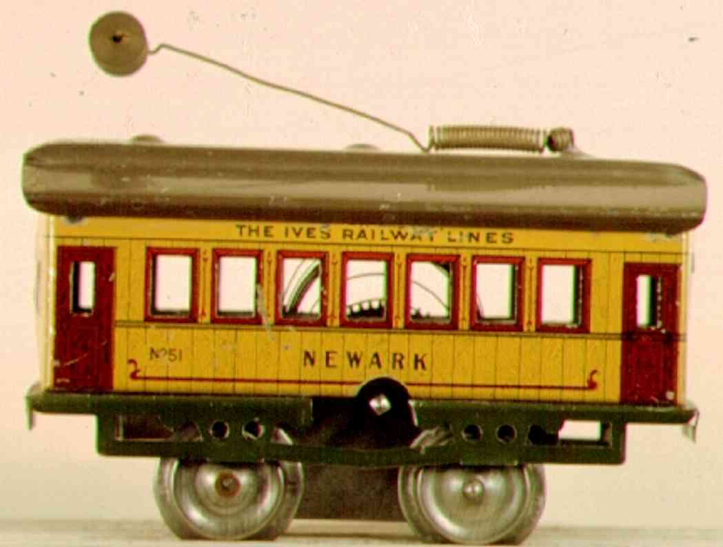 ives 801 (1912) tin toy tram clockwork trolley, it has the body from an early newark car
