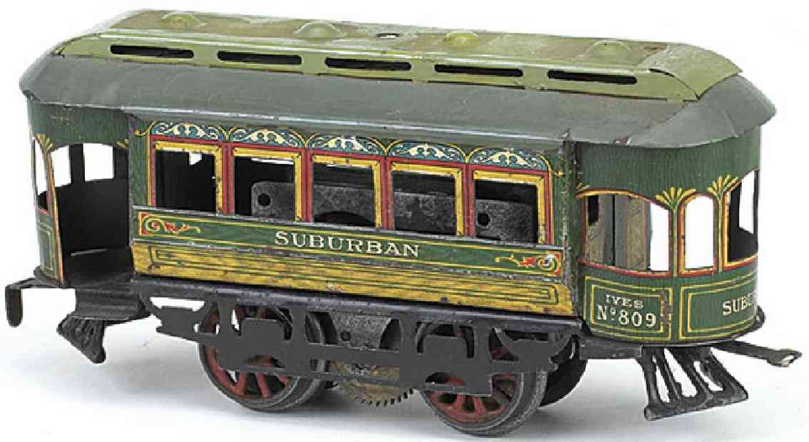 ives 809 1912 tin toy tram clockwork trolley with 10 spoke cast iron wheels