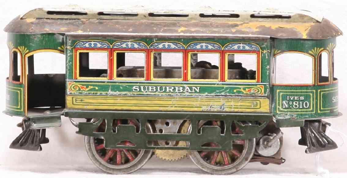 ives 809 1913 tin toy tram clockwork trolley 10 spoke cast iron wheels