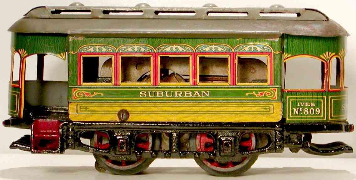 ives 809 1916 blech spielzeug uhrwerkstrassenbahn raeder 10 speichen