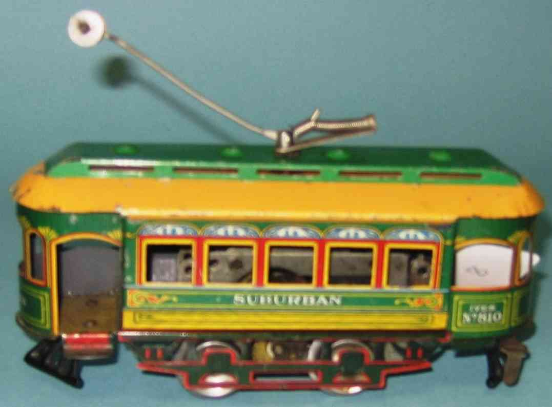 ives 810 tin toy tram clockwork dics wheels trolley pole gauge 0