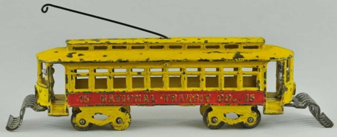 kenton hardware co 15 spielzeug gusseisen strassenbahn gelb rot