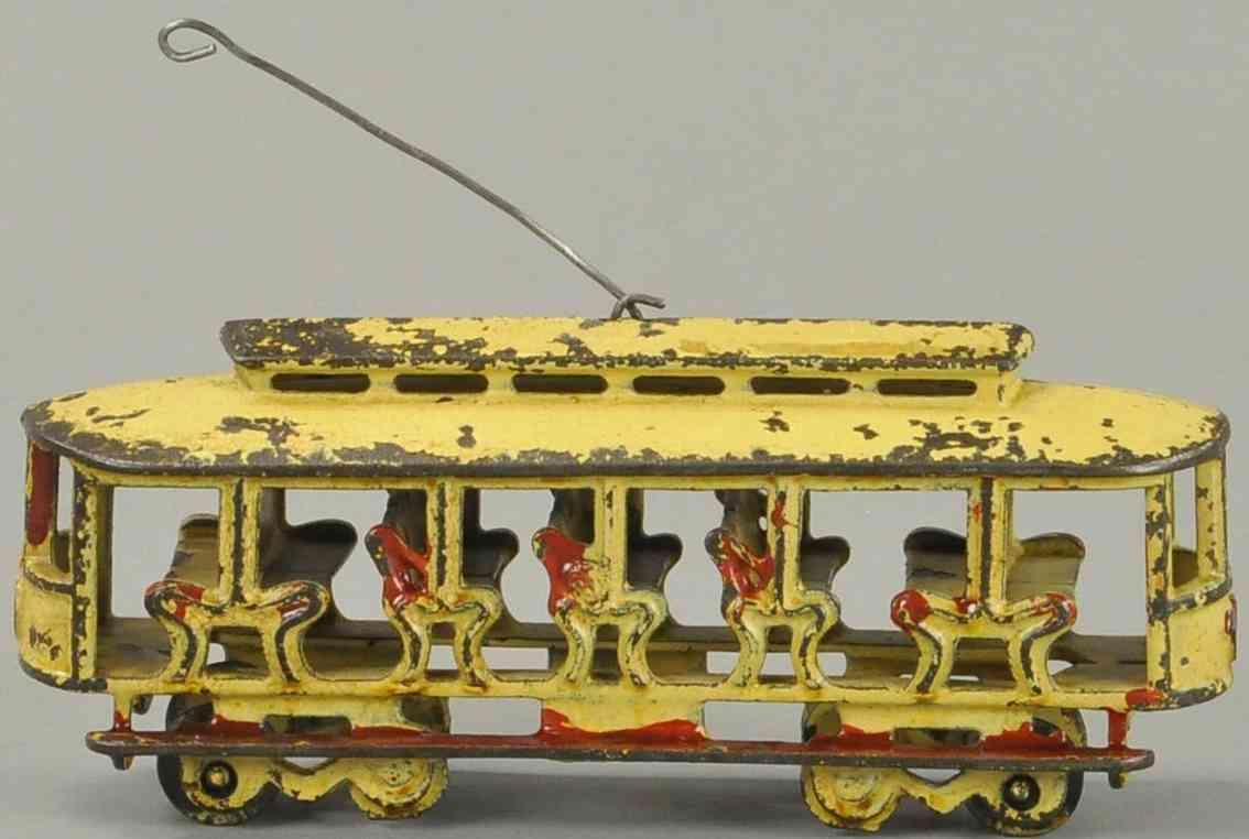 kenton hardware co spielzeug gusseisen strassenbahn gelb rot
