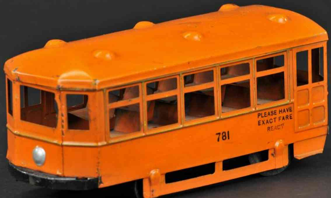 kingsbury toys 781 pressed steel tram suburban trolley car orange