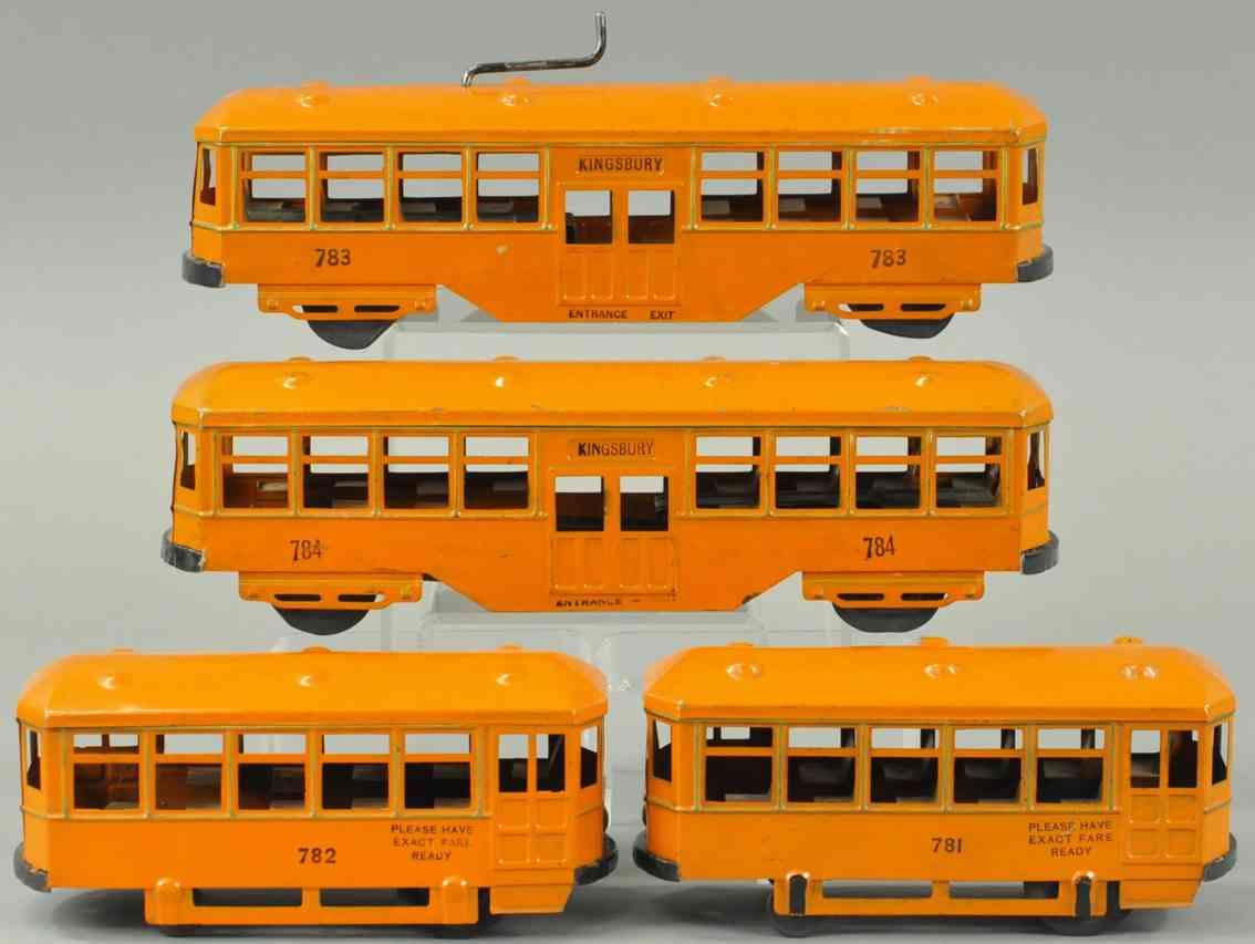 kingsbury toys 781 782 783 784 blech spielzeug strassenbahn set uhrwerk orange