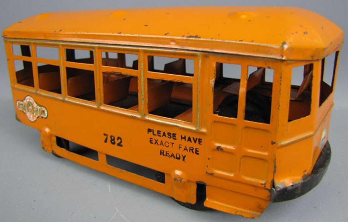 kingsbury toys 782 tin tram trolley wind-up orange