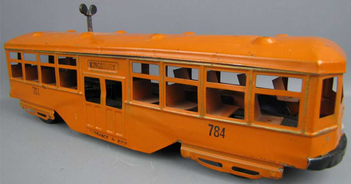 kingsbury toys 784 tin toy bus pressed steel trolley wind-up toy in orange