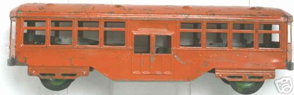 kingsbury toys blech spielzeug strassenbahn orange uhrwerk