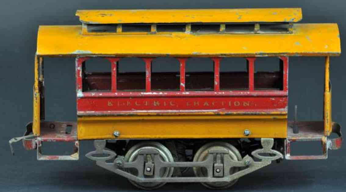knapp electric and novelty company tin toy tram electric traction trolley