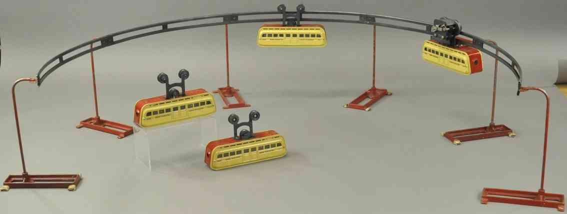 leland detroit mfg co tin toy monorail set four gondolas