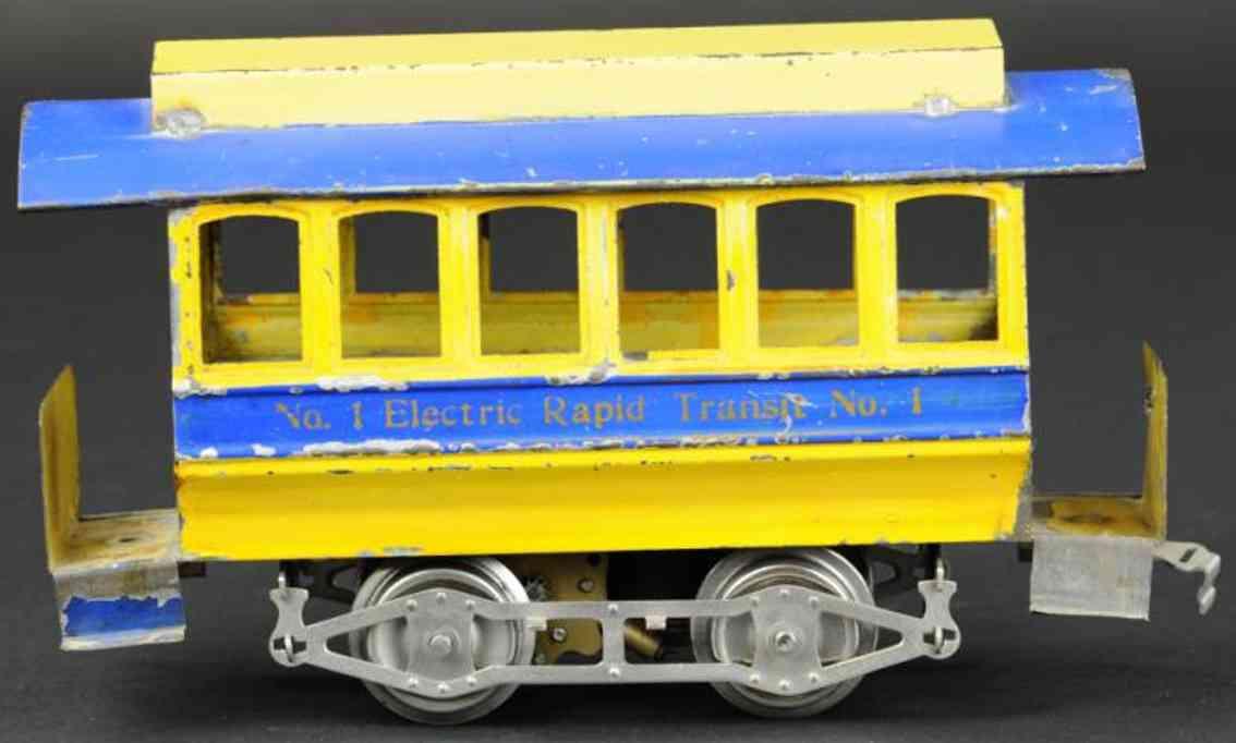 lionel 1 blech spielzeug strassenbahn creme blau standard gauge