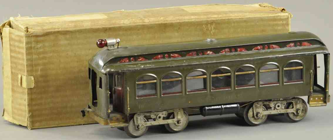 lionel 10 blech interurban strassenbahnwagen olivgruen standrad gague
