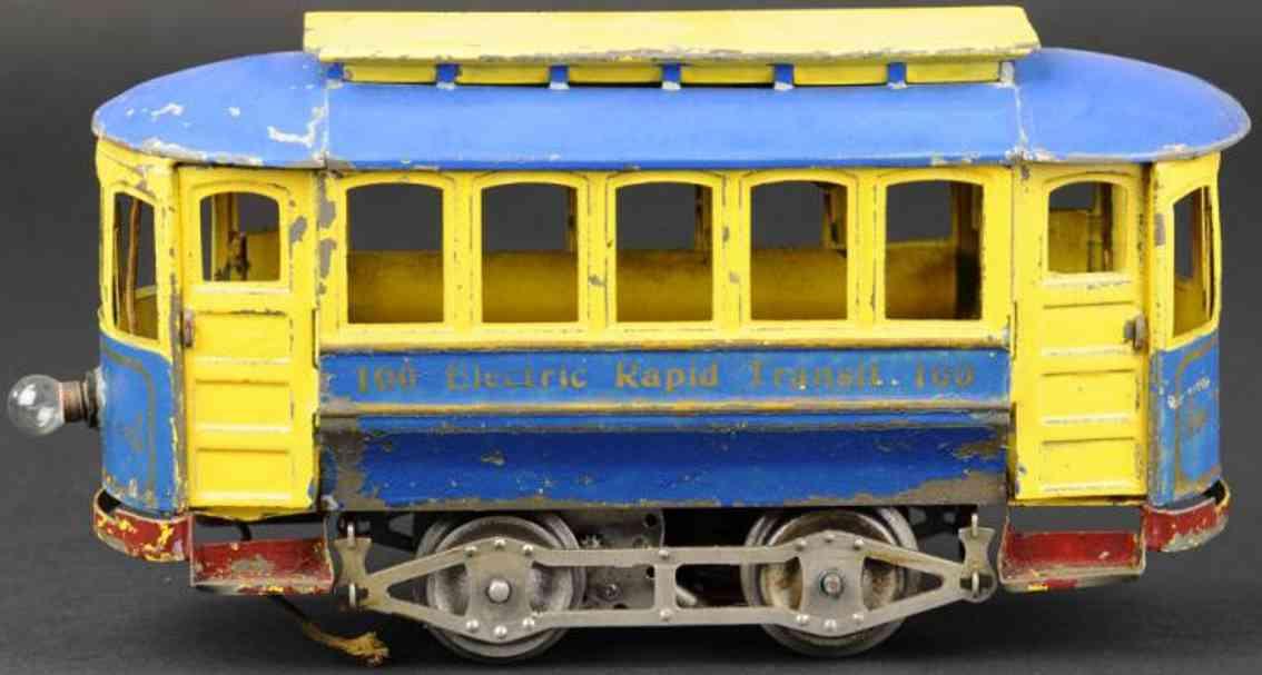 lionel 100 blech spielzeug strassenbahn blau creme standard gauge