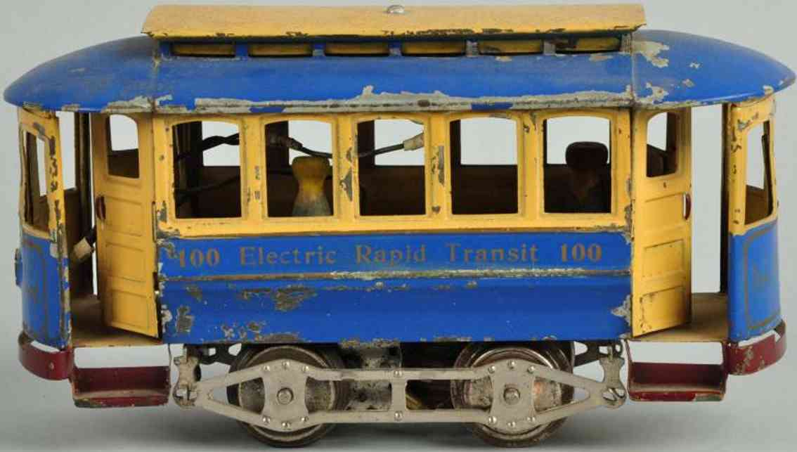 lionel 100 blech spielzeug strassenbahn schnellbahnwagen blau gelb