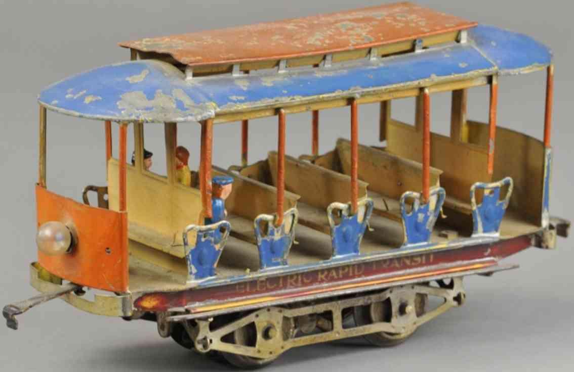 lionel 101 III tin toy tram electric rapid transit trolley blue red standard gauge