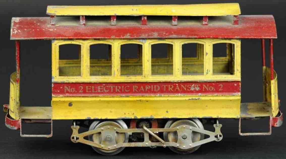 lionel 2  blech spielzeug elektrische strassenbahn rot gelb standard gauge