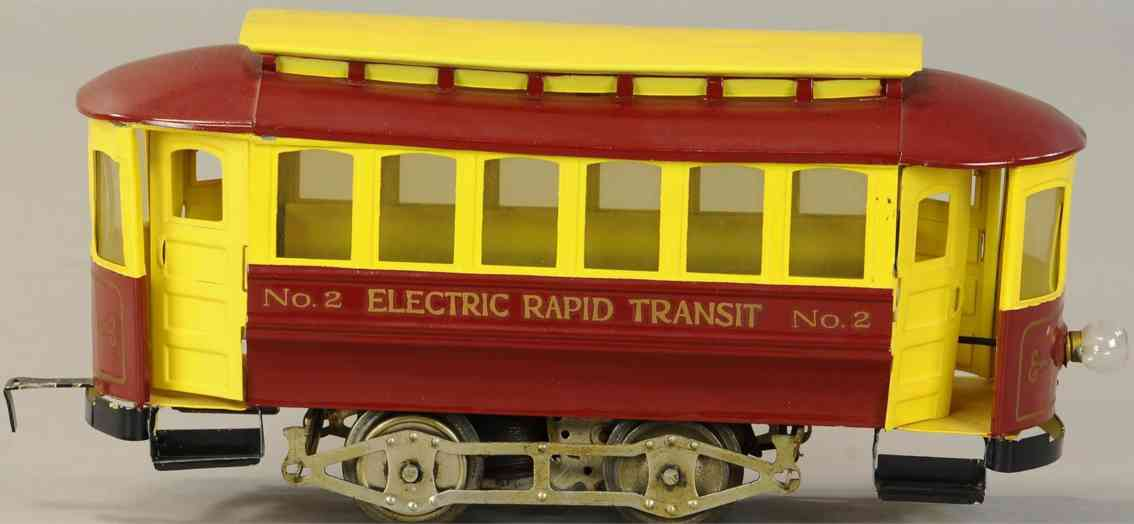 lionel 2 tin toy tram electric rapid transit trolley red yellow standard gauge