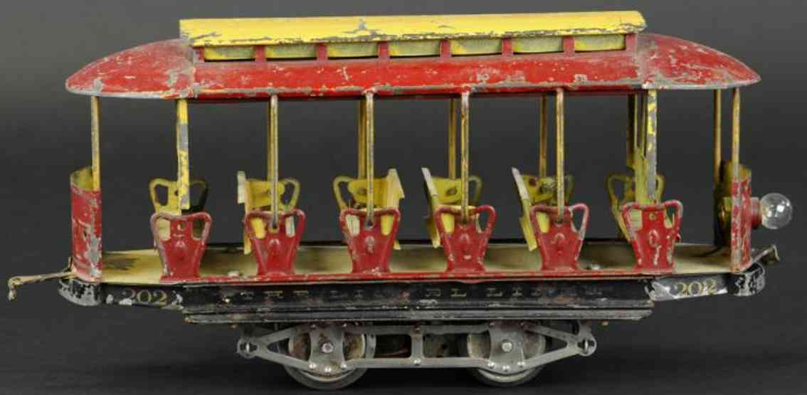 lionel 202 tin toy tram summer trolley motor unit red yellow standard gauge