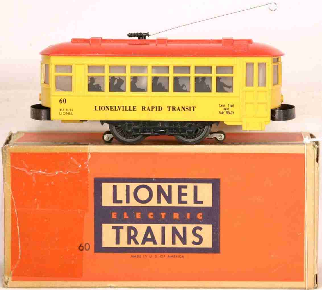 lionel 60 tin toy tram trolley yellow