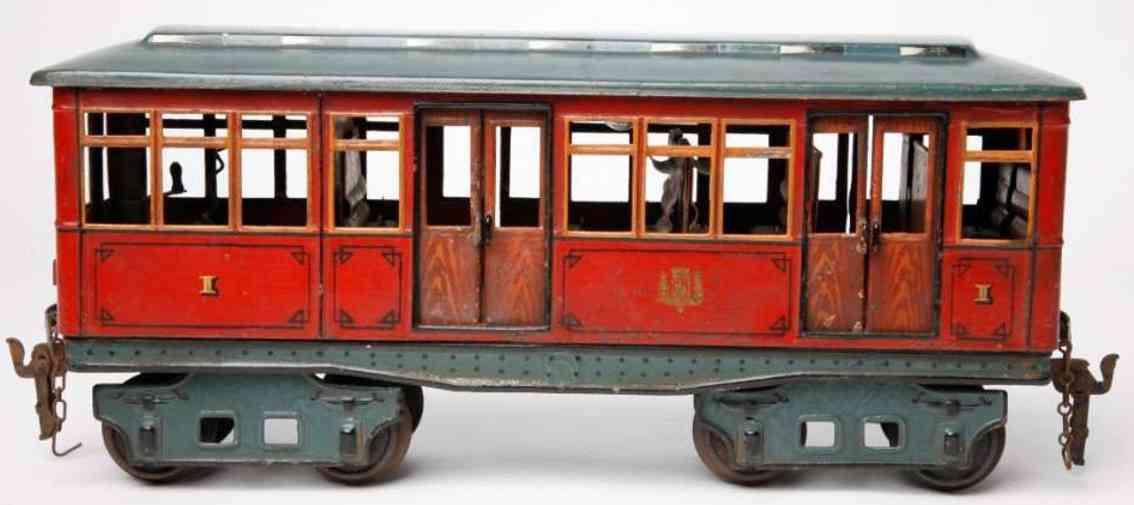 marklin maerklin 1096 red tin toy tram trailer car metro subway of paris