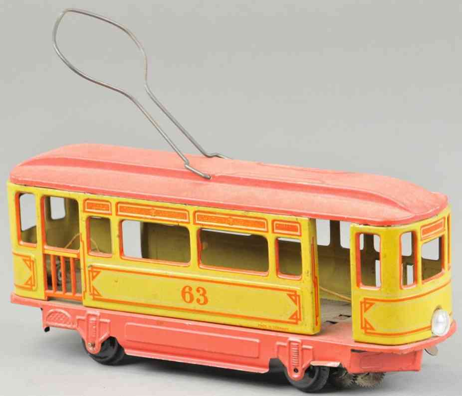 orobr 63 tin toy tram trolley red yellow
