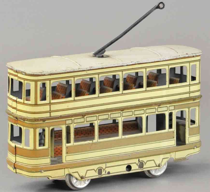 orobr tin toy enclosed double decker trolley