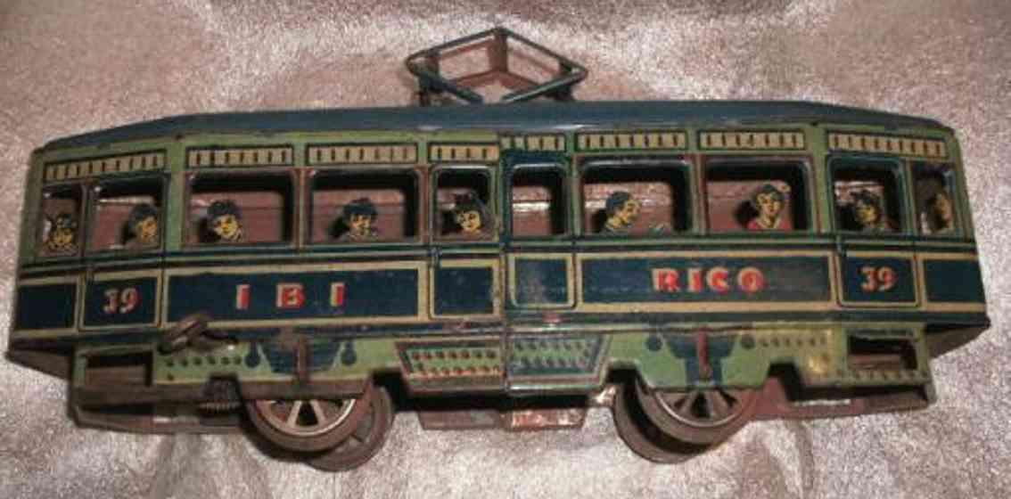 paya blech spielzeug strassenbahn straßenbahn lithografiert mit passagieren und uhrwerk; aufsc