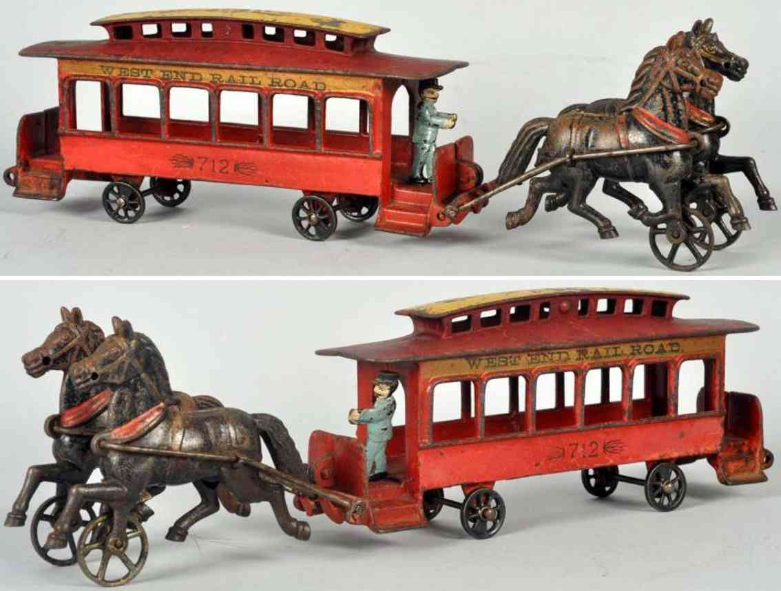 pratt & letchworth cast iron toy tram horse-drawn trolley