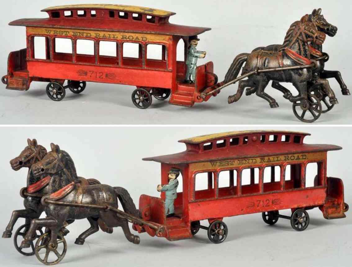 pratt & letchworth spielzeug gusseisen strassenbahn mit zwei pferden und fahrer