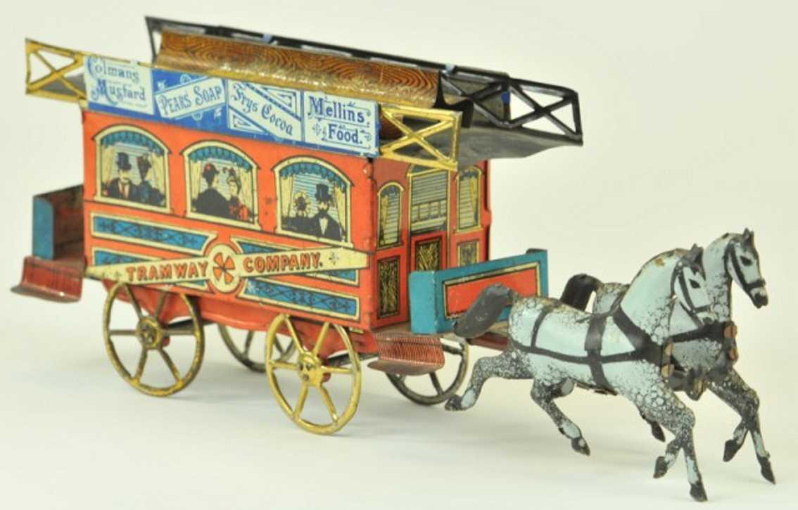 richter & co blech strassenbahn zwei graue pferde