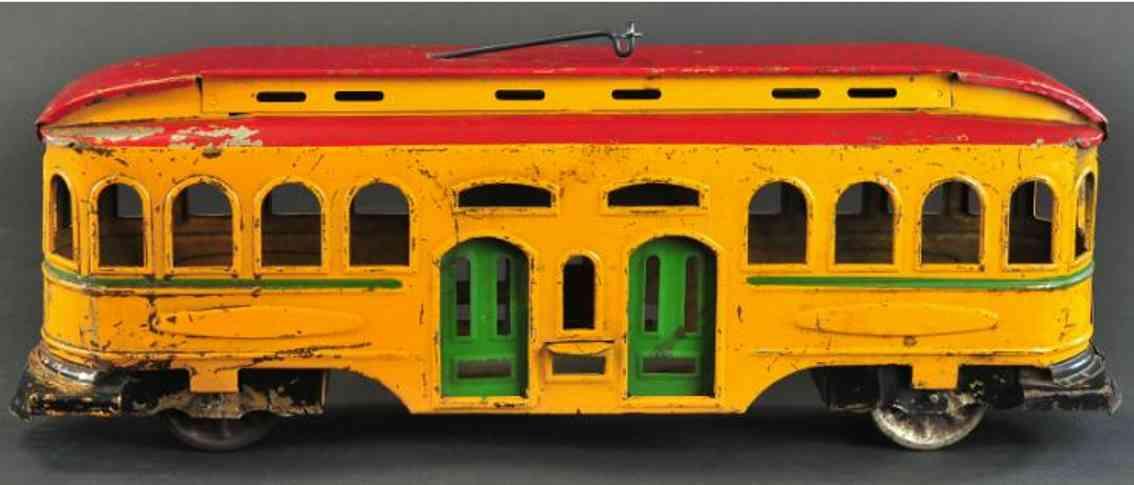 schieble blech spielzeug strassenbahn orange rot