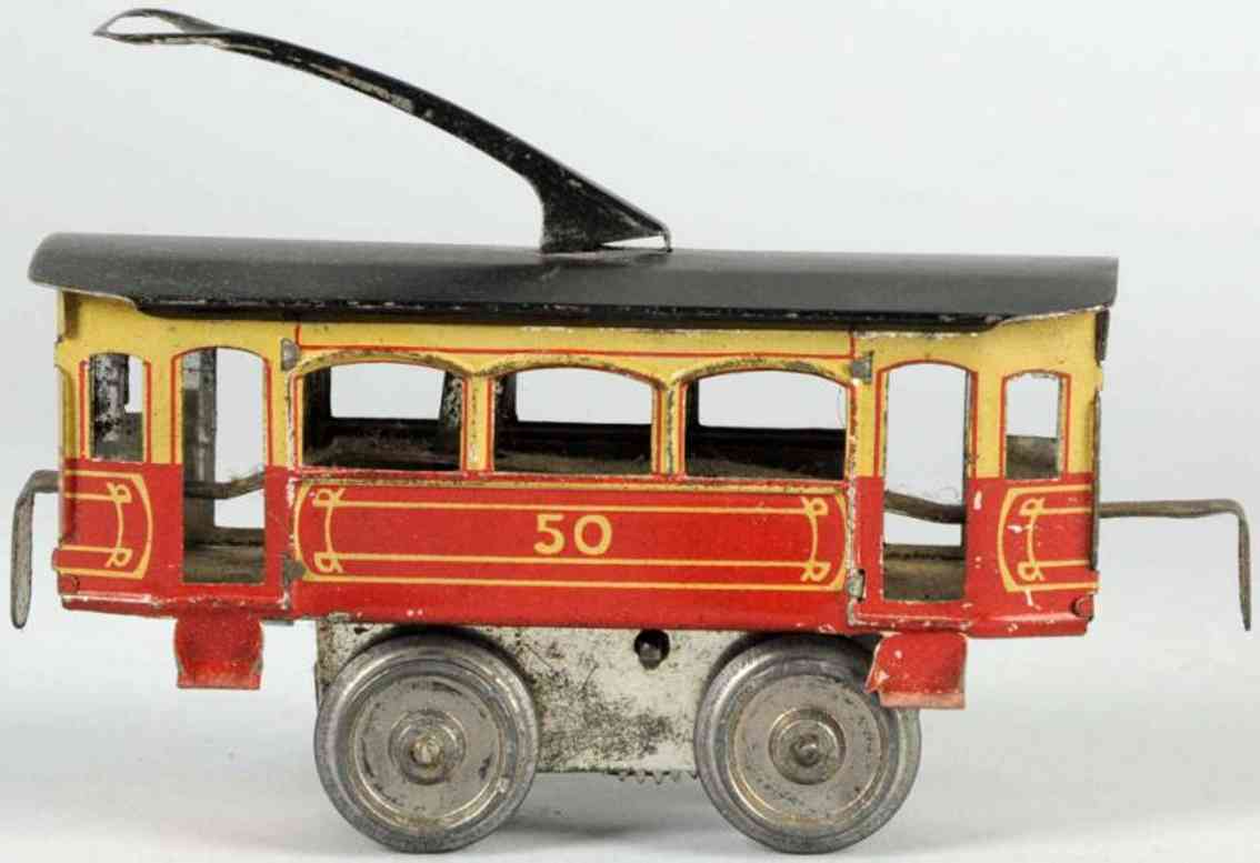 schoenner 50 tin toy tram wind-up trolley
