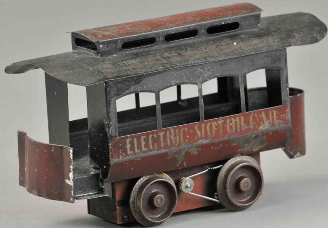 smith & white tin toy tram trolley car maroon electric motor