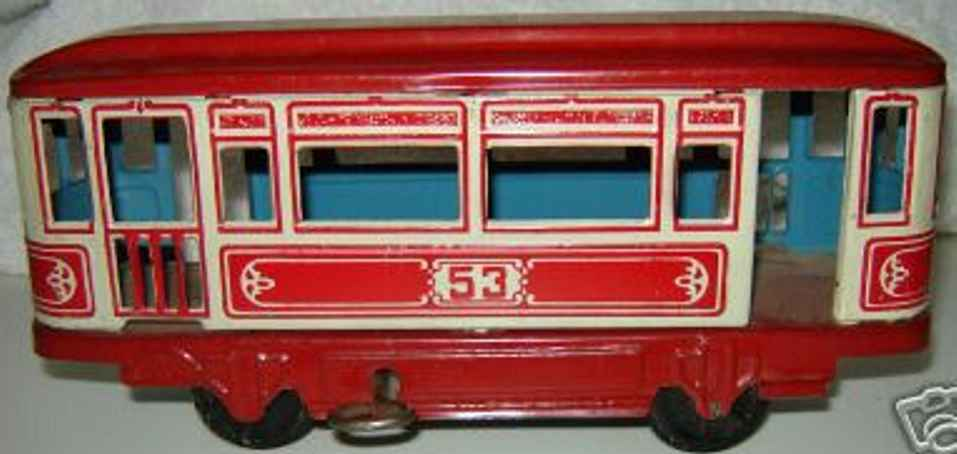 tippco tin toy tram tin windup trolley car, marked 43