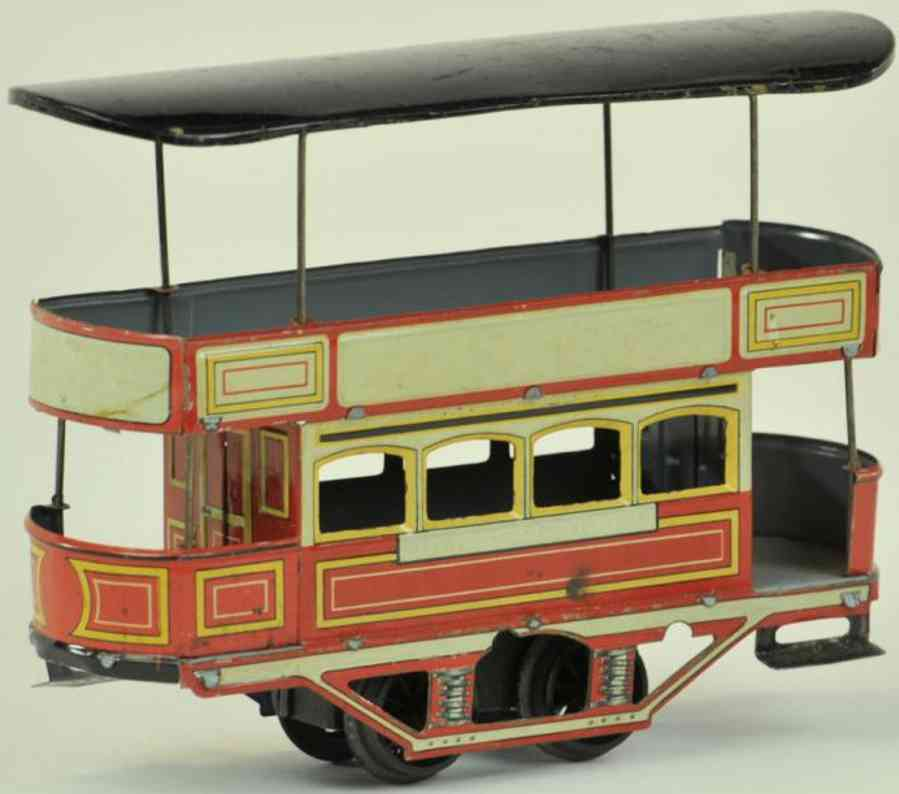 unknown tin toy tram double deck trolley clockwork