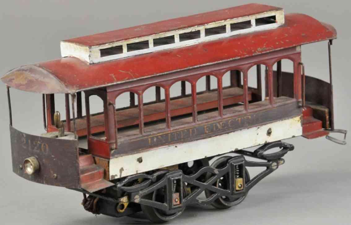voltamp 2120 (1909) blech spielzeug strassenbahn strassenbahn nr. 2120, alte motorisierte strassenbahn mit du