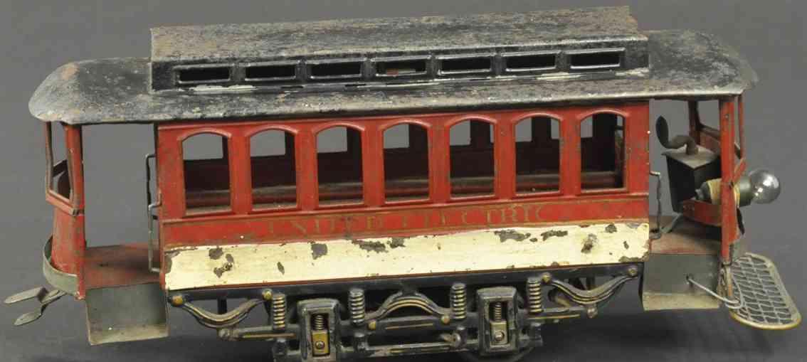 voltamp 2120 weissblech spielzeug strassenbahn braun united electric