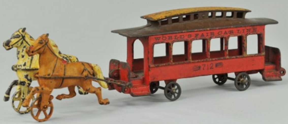 wilkins 712 spielzeug gusseisen messe-strassenbahn zwei pferde