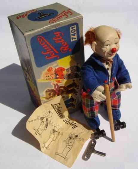 schuco 7401 tin dance figure clown rolly-acrobat with clockwork