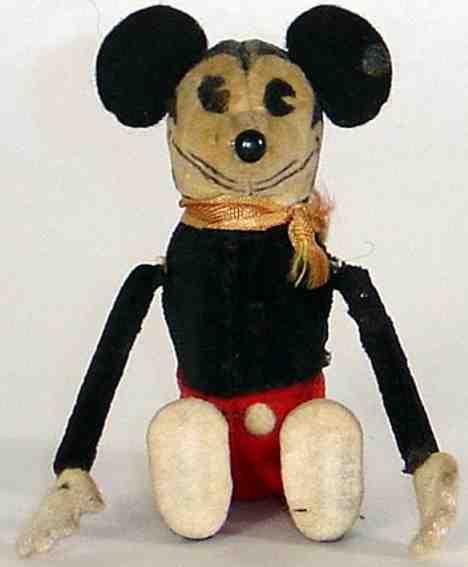 schuco 880 tumbling mickey mouse tin plush felt clockwork