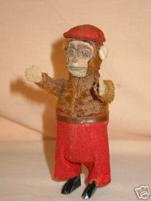 schuco 925 dance figure monkey chimp tin plush felt