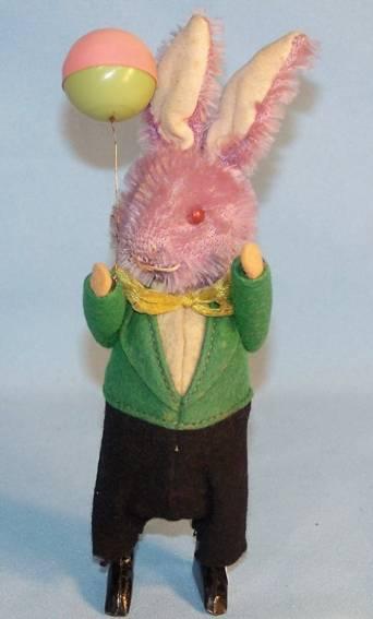 schuco 930 dance figure rabbit balloon tin plush felt celluloid clockwork