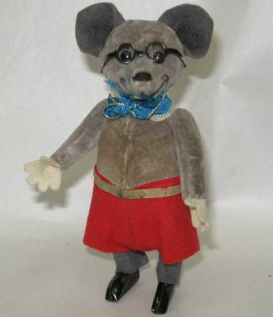 schuco 933 tin felt cloth dance figure cartoon mouse glasses