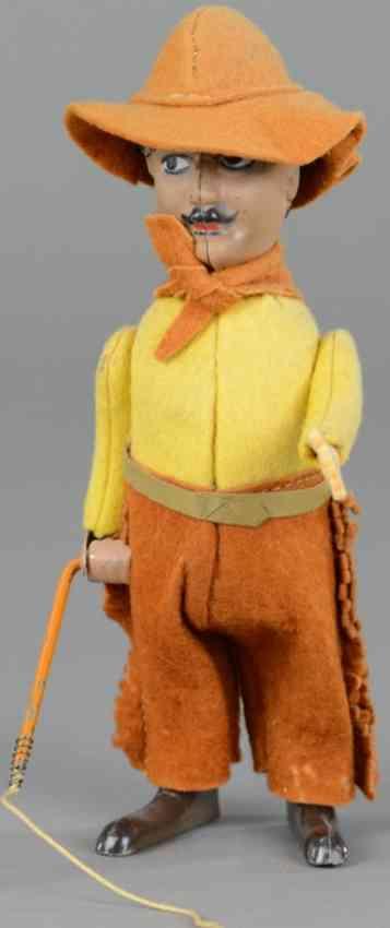schuco 945 blech filz tanzfigur charlie chaplin cowboy mit peitsche