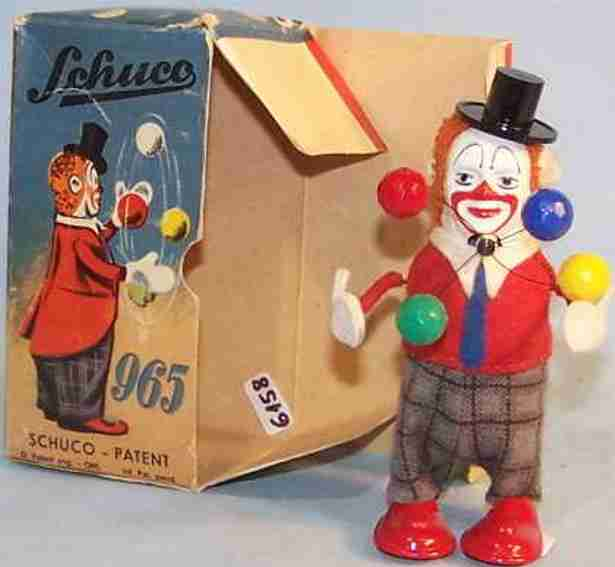 schuco 965 tin dance figure clown as a juggler