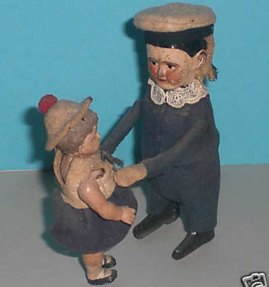 schuco 975 tin felt plastic dance figure sailor girl clockwork