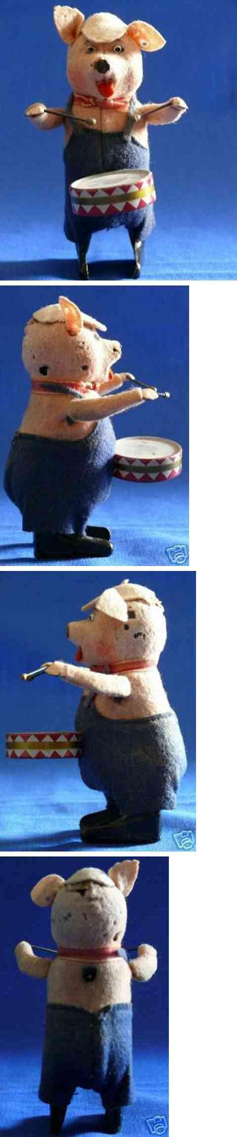 schuco 980/1 tin dance figure pig with drum