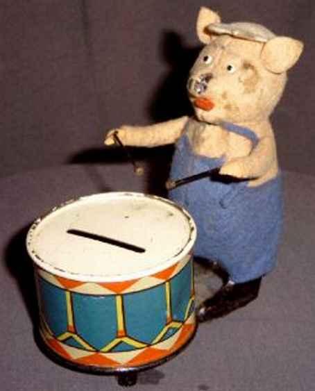 Schuco 980/5 Dance Figure Pig dance figure with drum