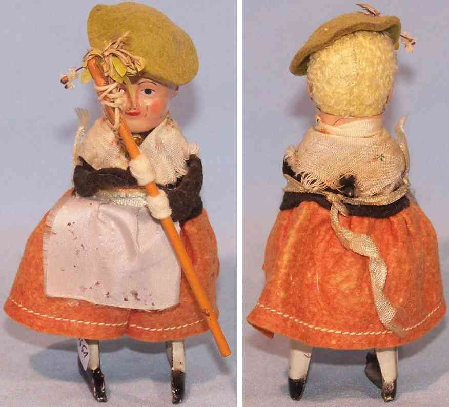 schuco 983/8 tin dance figure tyrolean stick clockwork