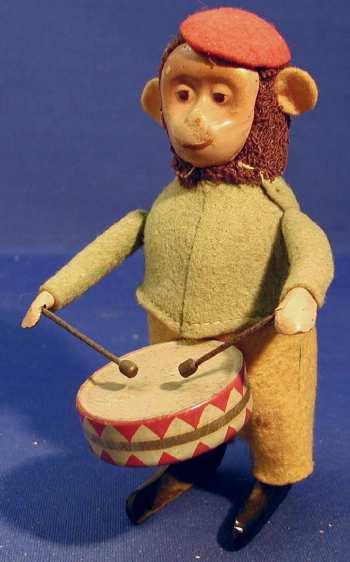 schuco 985/1 tin dance figure monkey with drum